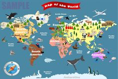 Personalized Laminated World Map For Kids  Let's by funmapsforkids, $32.99