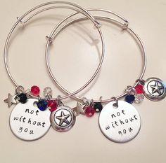 Not Without You Stucky Bucky Barnes Winter Soldier & Captain America Steve Rogers BFF Sisters Girlfriends Adjustable Charm Bangle Bracelets #captainamerica #wintersoldier #buckybarnes #stucky #marvel #comicinspired #friendshipbracelets #sisters #girlfriends #stamped #adjustablebangle #charmbracelet