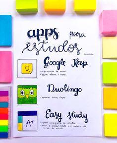 🤪💛DICA💛🤪 📌Para ajudar vocês trouxe um resumo sobre os aplicativos que eu uso e que eu amo: 📌Duolingo é para quem quer aprender uma língua estrangeira e é focado na memorização das palavras, vocabulários e gramática 📌Keep é um serviço do Google para anotações. O aplicativo permite a criação e acesso de notas (texto, áudio e vídeo) via celular ou via web e pode ser sincronizado com o Google Drive. 📌O Easy Study é a melhor forma de organizar seu horário de estudos. Com ele é possível… Study Techniques, Study Methods, School Motivation, Study Motivation, Study Apps, Study Organization, Bullet Journal School, Study Planner, School Study Tips