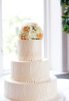 White Wedding Cakes 10 Gorgeous Textured Wedding Cakes - Textured cakes are a popular trend to consider; with ruffles, lace, pleats and buttercream it's a good way to go if you're short of interesting ideas. Textured Wedding Cakes, White Wedding Cakes, Elegant Wedding Cakes, Cool Wedding Cakes, Beautiful Wedding Cakes, Wedding Cake Designs, Wedding Cake Toppers, Beautiful Cakes, Art Deco Wedding Cakes