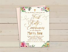 Floral Girl communion Invitation Custom First by HappyPartyStudio