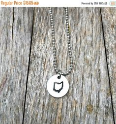 Ohio Necklace, State Jewelry, State of Ohio, long distance relationship, Hometown Gift, Hand Stamped, Girlfriend,Deployed,Columbus,Army Wife