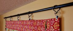 quilt hanging idea curtain rods and clips