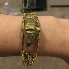 Quartz Cuff Bracelet. Quartz stone cuff bracelet.  Golden wire anchors stones to cuff. Jewelry Bracelets