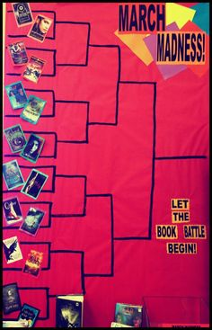 March Madness Teen Library Bulletin Board what a fun way to get boys to read...would be really cool to do this as a winter program.  have them come in and do their book picks, fill out their brackets read the books and end up a with a favorite at the end.   They could show their finished bracket to earn a prize at the end!