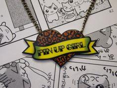 Pin Up Girl Necklace - Rockabilly Sailor Jerry Navy Tattoo Heart Leopard Print Sexy Psychobilly on Etsy, $19.00