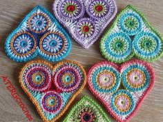 Beautiful stuff for sale here! Check it all out.  Crochet pattern colorful circle heart by by ATERGcrochet on Etsy, €2.65