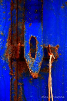 Moroccan Rust III by Damienne Bingham [Prints, etc. avaialbe through Redbubble]. Rust and the bluest blue Bleu Indigo, Peeling Paint, Love Blue, Something Blue, Electric Blue, Textures Patterns, Shades Of Blue, Blue Orange, Color Inspiration
