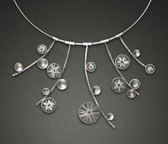 """Carla Pennie McBride: , Necklace in sterling silver and resin. Each pendant element can be removed, reassembled, and worn various ways. Center pendant is 3 x 1"""" Neckwire is 16"""" in length."""
