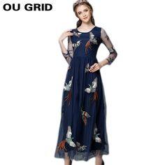 Women Autumn Dress 2015 New Fashion Bird Embroidery Maxi Long Dress Patchwork Mesh Long Sleeve O-neck slim Dress Large Size