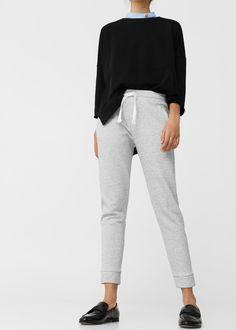 L2017 Bawełniane spodnie jogging   MANGO