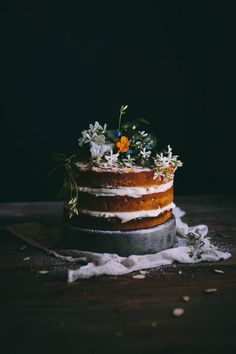 Naked wedding cake - dark foliage Small cake for cutting and sheet cake/smores/dessert bar for guests