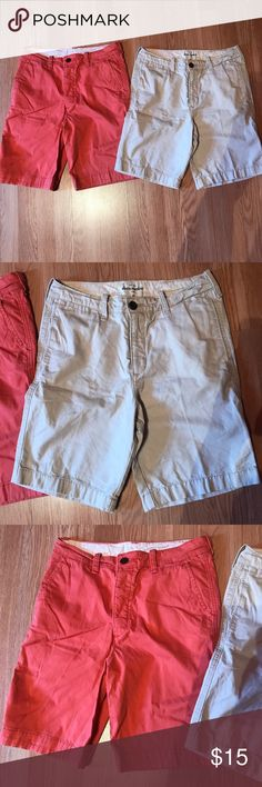 """Abercrombie Kids Flat Front Shorts Both in good condition. Khaki and burnt orange color. Orange has stretch to it. Inseam 8"""" Size 16 Abercombie Kids Bottoms Shorts"""