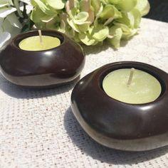 Pair 2 Brown Modern tea light Candle holder decor lighting decorative ceramic Mod Rustic romntic by WonderCabinetArts