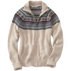 Women's Carhartt Folk Pattern Cardigan Sweater, Oatmeal Heather