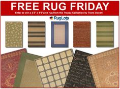 This week for #FreeRugFriday we're giving you the chance to win a 3x5 area rug from the Tropez Collection by Trans Ocean!  Area Rugs from the Tropez Collection offer the look of a natural fiber rug but is a far more practical decorating solution! Wilton woven of 100% polypropylene fibers, these rugs feature a dense weave and intricate patterns. Sweepstakes ends 05/30/13 @ 8:00p.m. EST. Visit www.RugLots.com/Blog to enter! Good Luck!