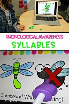 Teaching Phonological Awareness Syllables in kindergarten and first grade. Embrace technology with these digital slides!