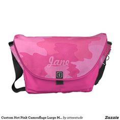 Custom Hot Pink Camouflage Large Messenger Bag http://www.zazzle.com/atteestude/gifts?cg=196901772092288470&rf=238271513374472230   #backtoschool  #backtoschoolsupplies #kids #zazzle