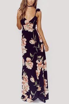 Random Floral Print Sleeveless V-neck Maxi Dress - US 39.27 fefbc4c64
