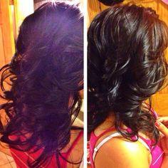Thick medium flip-in curl...
