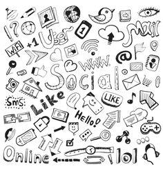 Hand drawn icons big set of modern social doodles vector