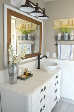 Modern Farmhouse Bathroom A review of chalk painted dressers turned into bathroom vanities. DIY Bathroom Decor