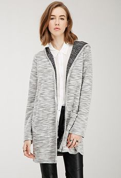 Marled Longline Hooded Cardigan | Forever 21 - 2000053976