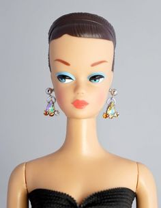 Barbie Basics Model Muse Doll Gold Silver Hoop Earrings Jewelry Accessory Rare