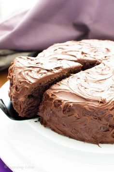 Vegan Chocolate Cake Recipe (V, GF): an easy recipe for supremely rich, perfectly moist chocolate cake covered in a delicious layer of irresistible chocolate frosting! #Vegan #GlutenFree #DairyFree #Chocolate #Cake #Dessert   Recipe on BeamingBaker.com
