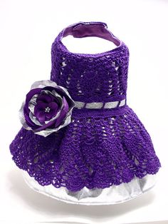Purple and Silver Crochet Dog Dress by MaxMilian on Etsy, $45.00
