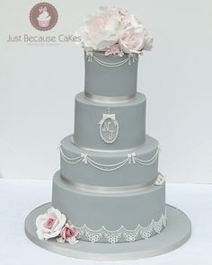 Silver/grey and black Wedding Cake with edible lace and monogram. Gina sugar roses cake topper #prettysugarroses #elegantweddingcakes