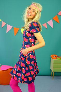 BAUMWOLLKLEID ' COLOUR BIRDS' - KLEIDER by Bonnie-and-Buttermilk - Knee-Length Dresses - Dresses - DaWanda