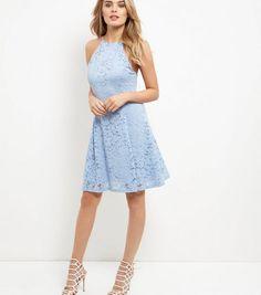 Light Blue Floral Flounce Lace Skater Dress | New Look