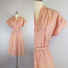 vintage 40s lace dress / blush pink dress / by archetypevintage, $145.00