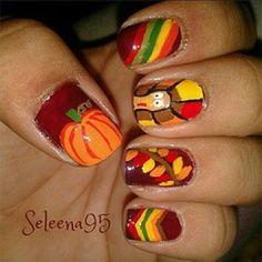 Turkey and pumpkin nails