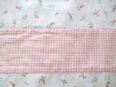"Pink Rosebud Gingham Valances - NOJO Nursery - Made in USA -  Three-  14"" x 80"" each- Repurpose Cotton Fabric - Cottage Girls Bedroom"