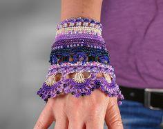 Crochet Beaded Bracelet Cuff. Crochet Jewelry. Freeform Crochet Cuff. Lilac Purple Ink Beige Pink Crochet Bracelet.