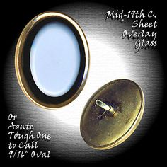 Button--Victorian Jewel White on Black Glass Sheet Overlay in Gilded Brass