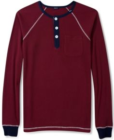 $34, Burgundy Henley Shirt: Lrg Shirt Long Sleeve No Msg Henley. Sold by Macy's. Click for more info: http://lookastic.com/men/shop_items/98771/redirect