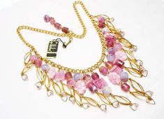 Hobe Bib Necklace  Vintage Pink Art Glass by thejewelseeker