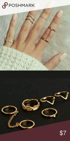 Gold ring set Boho rings 5pc ring set Approx size 6 and a mix of midi rings Jewelry Rings