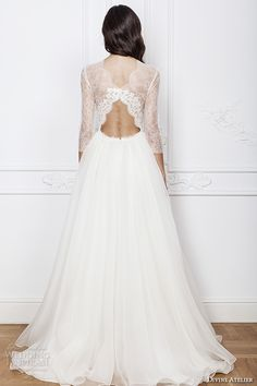 divine atelier 2016 bridal gowns three quarter jewel neckline modern bohemian a line ball gown wedding dress keyhole back sweep train (azira) bv
