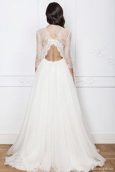 divine atelier 2016 bridal gowns three quarter jewel neckline modern bohemian a line ball gown wedding dress keyhole back sweep train (azira) bv -- Divine Atelier 2016 Wedding Dresses