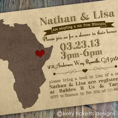 Thankful Hearts - Adoption Shower Invitations - Ethiopia - Customizable - Digital Printable File. $18.00, via Etsy.