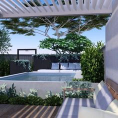 Raised concrete pool, minimal pool fencing with poolside sun lounge and open structure. Raised concrete pool, minimal pool fencing with poolside sun lounge and open structure. Backyard Pool Landscaping, Backyard Pool Designs, Small Backyard Pools, Pool Fence, Swimming Pools Backyard, Swimming Pool Designs, Garden Pool, Outdoor Areas, Outdoor Pool