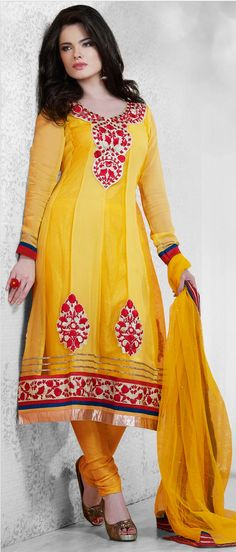 Mango #Yellow Faux Georgette and Net #Churidar Kameez