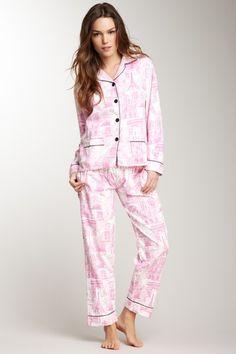 Frankie & Johnny Pink & Black Parisian Toile Pajama Cozy Gift Set