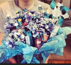 Glitter mod podged garbage container from Walmart, shooters on ribbon wrapped kabob sticks, tissue paper, and fake flowers! Crafty Birthday Gifts, 21st Birthday Presents, 21 Birthday, Birthday Wishes, Birthday Ideas, Shot Bouquet, Garbage Containers, Kabob, Ribbon Wrap