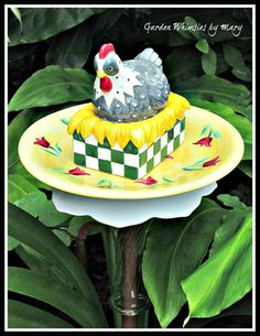 Hen on Nest Garden Totem Stake  As by GardenWhimsiesByMary on Etsy, $30.00