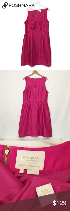 "KATE SPADE pink bow neckline silk dress Excellent condition! Crinkled nubby duponi silk; May require some pressing upon arrival. Fully lined. Rears zip closure. POCKETS! in my opinion, runs slightly large; please see measurements below. Bust 39"" waist 38"" hip 49"" length 40"" kate spade Dresses Midi"